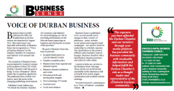 Business Sense recognised as a Voice of Durban Business