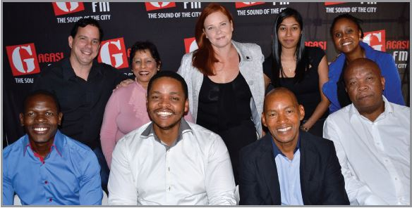 Gagasi FM Management Team [LEFT TO RIGHT BACK -Mimi Kesaris, Lolly Ram, Natalie Danks, Carina Moothusamy, Vuyokazi Mhlophe. LEFT TO RIGHT FRONT - Alex Mthiyane, Vukile Zondi, Chris Meyiwa, Patrick Bogatsu.