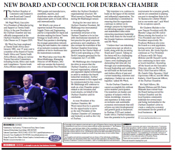 The Durban Chamber of Commerce and Industry - New Board And Council Announced