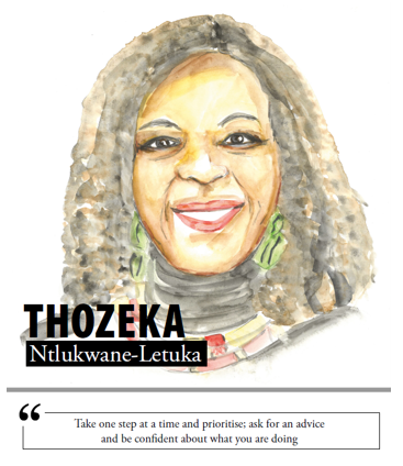 Thozeka Ntlukwane-Letuka - Take one step at a time and prioritise; ask for an advice and be confident about what you are doing
