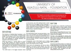 UNIVERSITY OF KWAZULU-NATAL - FOUNDATION